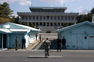 North and South Korean border guards face off in the Panmunjeom Peace village.