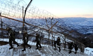 South Korean soldiers patrol the DMZ