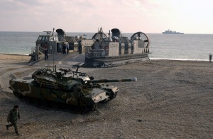 040326-F-0193C-020 Pohang Beach, Korea (Mar. 26, 2004) - A Republic of Korea Type 88 K1 Main Battle Tank drives off a U.S. Navy Landing Craft Air Cushion (LCAC) throughout a simulated amphibious attack on Pohang Beach, Korea, during Reception, Staging, Onward Movement, and Integration, and Foal Eagle 2004. The exercise is an annual U.S. and South Korea exercise tailored to evaluate command capabilities to receive U.S. Forces from outside Korea while teaching, coaching, and mentoring exercise participants. U.S. Air Force photo by Staff Sgt. D. Myles Cullen. (RELEASED)