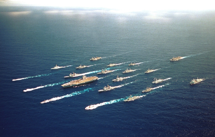 The ABRAHAM LINCOLN Battle Group along with ships from Australia, Chile, Japan, Canada, and Korea steam alongside one another on 18 June 2000 for a Battle Group Photo during RIMPAC 2000. Official U.S. Navy photo by: PH2 Gabriel Wilson