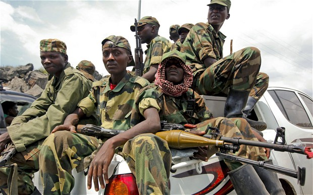 M23 Rebels deploying to fight government troops.