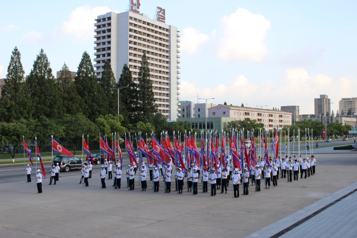 Schoolchildren practicing for the parade celebrating the 70th anniversary of the founding of the Korean Workers Party