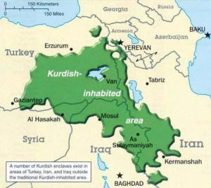 The spread of ethnic Kurds across the middle east. (source: wikicommons)