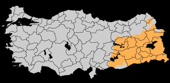 Kurdish populations in Turkey (orange) (source: wikicommons)
