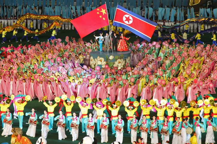 North Korea celebrates its relationship with China during the mass games in Pyongyang