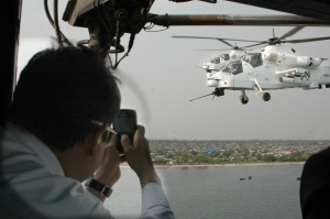 UN attack helicopters escort a UN delegation to the DRC (Source: Wikicommons)