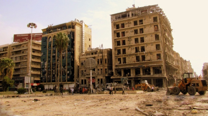 Aleppo, Syria, after a bombing in 2012. (Source: wikicommons)