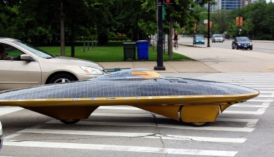 Solar cars on the road.