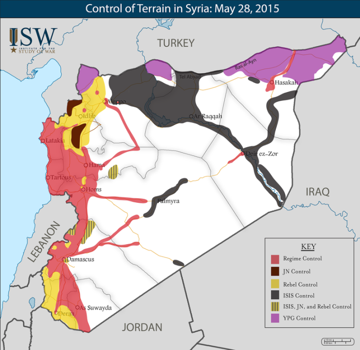 Syrian territorial control as of May, 2015. Source: Institute for the Study of War