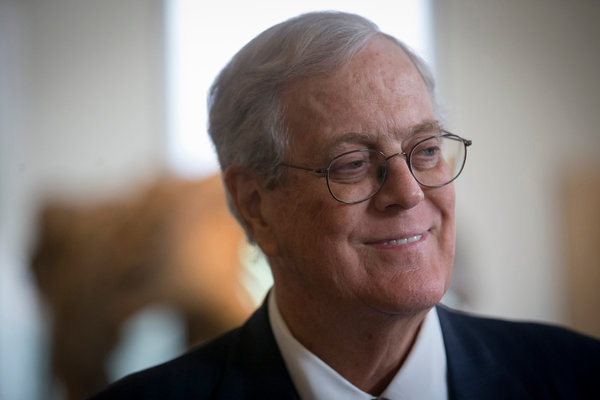 David Koch in June. The brothers' financial goal, announced on Monday at the annual Koch winter donor retreat in Palm Springs, Calif., effectively transforms the Koch organization into a third major political party. Credit Travis Heying/The Wichita Eagle, via Associated Press