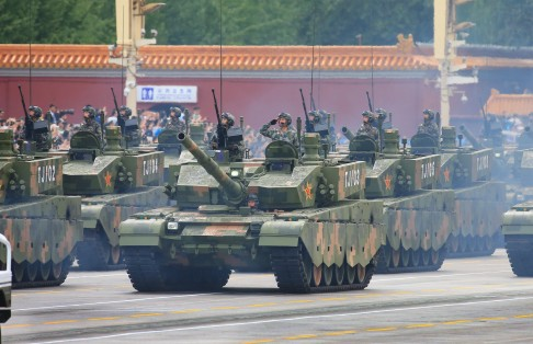 Soldiers take part in military parade rehearsals in Beijing. Photo: Xinhua