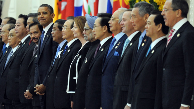 US President Barack Obama (C-L) stands with Leaders of the Association of Southeast Asian Nations (ASEAN) and leaders of Southeast Asia during a photo session at the Peace Palace in Phnom Penh on November 20, 2012. US President Barack Obama was on November 20, set to defy Beijing's protests and use a summit to raise concerns over South China Sea rows that have sent diplomatic and trade shockwaves across the region. AFP PHOTO/ TANG CHHIN SOTHY (Photo credit should read TANG CHHIN SOTHY/AFP/Getty Images)