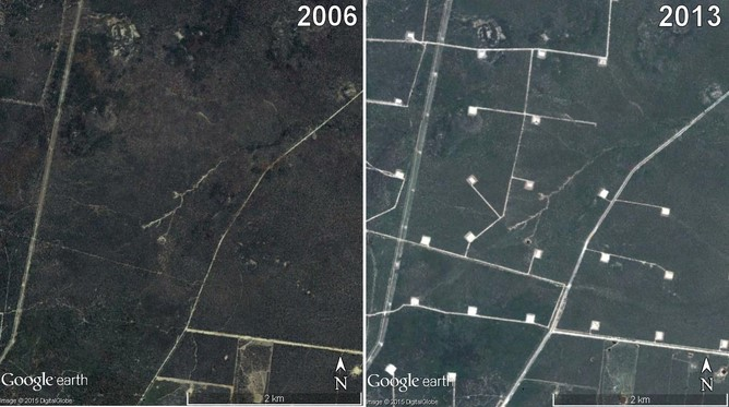 A before and after glimpse at the impact of CSG mining on a national park. Source: The Daily Bulletin