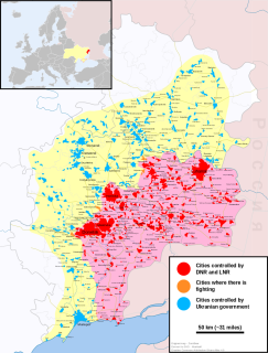 Map of the War in Donbass, a conflict in East Ukraine. It shows areas of fighting, and which sides have de facto control of particular regions. Picture: Wikicommons