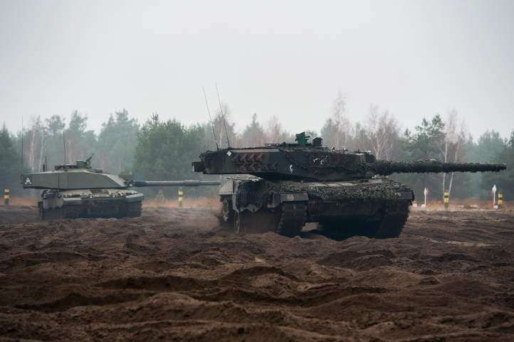 British Challenger 2 and Polish Leopard 2 Tank Operating Together
