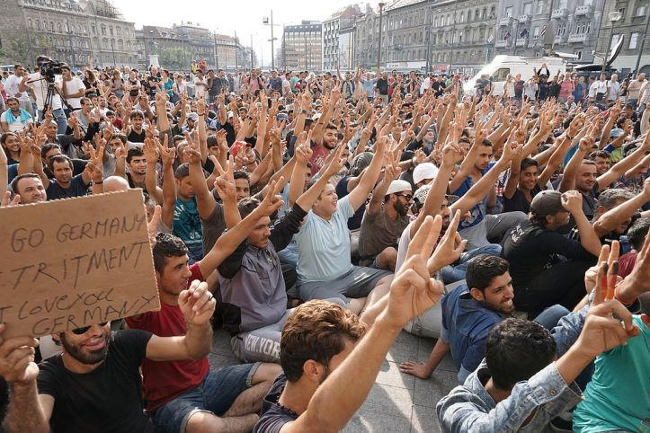 Syrian refugees strike in Budapest over travel restrictions. Photo: Mstyslav Chernov, Wikipedia Commons